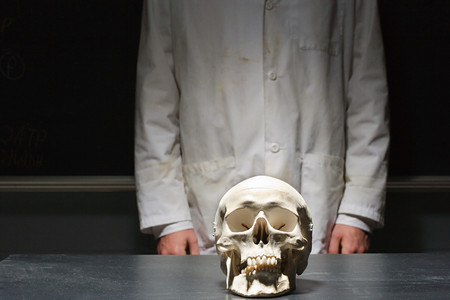 stood: Student stood with a human skull