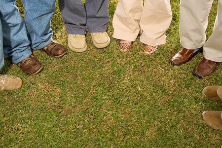 stood: Six students stood outdoors Stock Photo