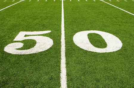 Fifty yard line Stock Photo