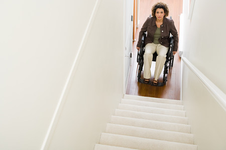 trapped: Disabled woman trapped at bottom of stairs