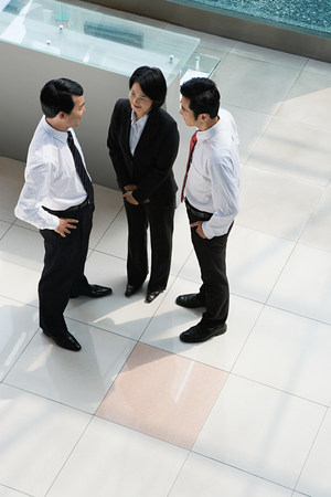 elevated view: Elevated view of Chinese businesspeople