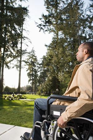Disabled man using a wheelchair