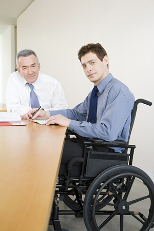 equal opportunity: Disabled male office worker