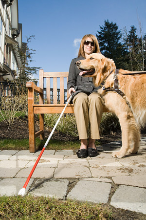 blind person: Blind woman with a guide dog
