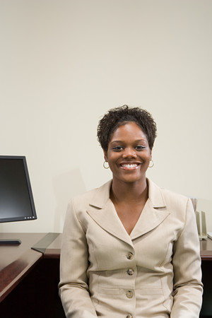equal opportunity: Businesswoman at her desk Stock Photo