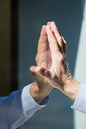 inner strength: Hand of man and reflection
