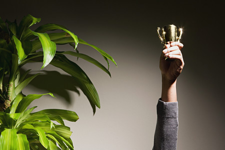 real trophy: Business woman holding up trophy Stock Photo
