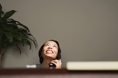 individually: Business woman smiling on the telephone