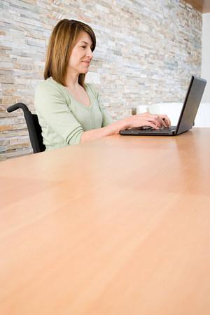telecommuting: Disabled woman telecommuting