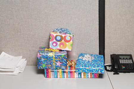 office desk: Presents on office desk