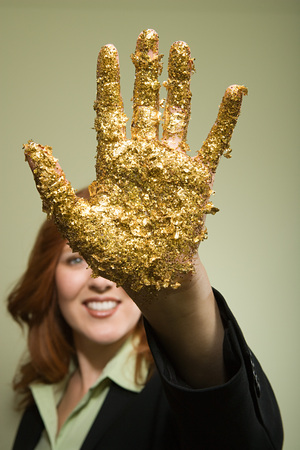 Woman with glitter on hand Stock Photo
