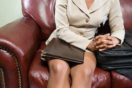 cropped image: Businesswoman waiting Stock Photo