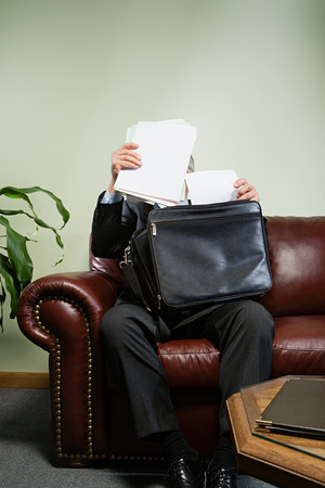 concealment: Man with paperwork