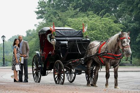A happy couple standing next to a horse carriage Фото со стока - 99118749