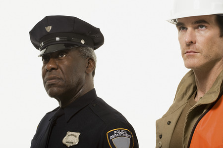 Portrait of a police officer and a construction worker
