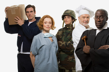 Delivery man surgeon soldier chef and judge 版權商用圖片