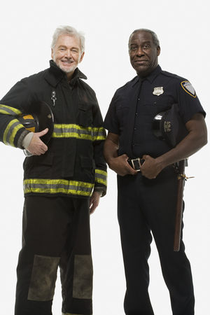 Portrait of a firefighter and a police officer Standard-Bild