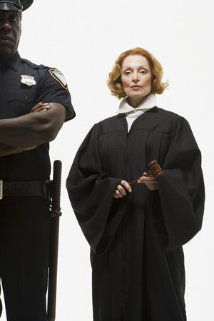 Portrait of a police officer and a judge