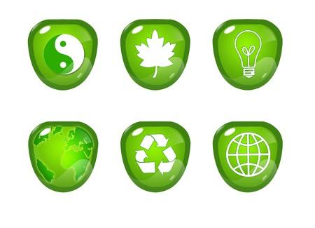 antipollution: Green button Stock Photo