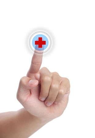 Click the button in hand medical, isolated on white background Stock Photo - 5563064