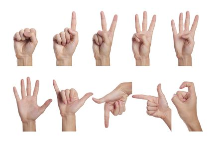 Counting men hands (0 to 9) ,Isolated on white background. Stock Photo - 5563151