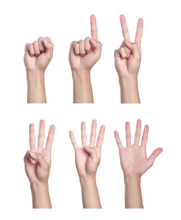 Counting men hands (0 to 5) ,Isolated on white background. photo