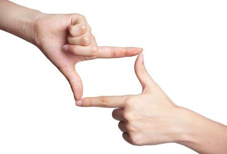 Hands shaped in viewfinder or frame  Stock Photo