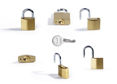 unprotected: padlock studio isolated over white