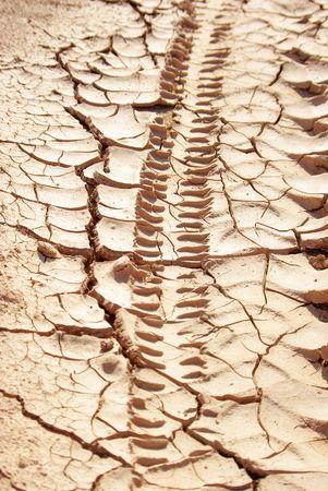 transporte terrestre: seguimiento de neumáticos en la tierra de seco  Foto de archivo