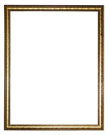 rectangular: Gold picture frame ,Isolated on white background.