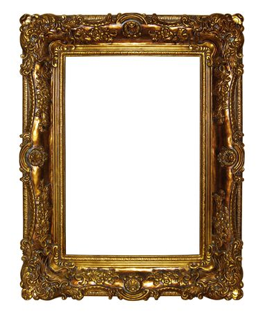 Gold picture frame ,Isolated on white background.