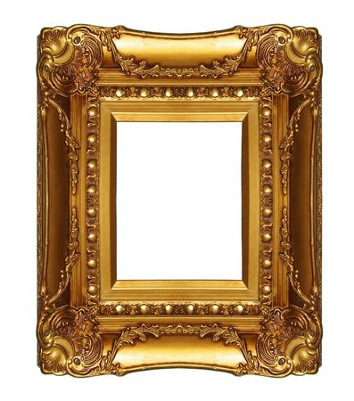 Gold picture frame ,Isolated on white background. photo