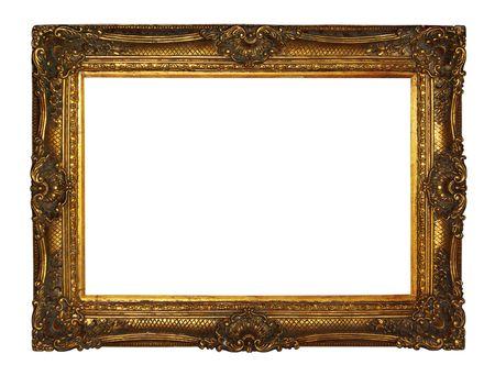 ゴールド画像フレーム、白の背景に分離されました。 写真素材