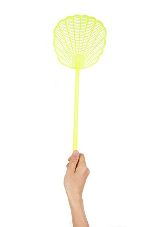 squash bug: A fly swatter being used by a mans hand.  Stock Photo