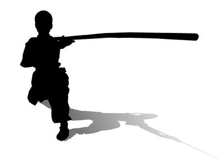 kyokushin: martial art Silhouette,Isolated on white background