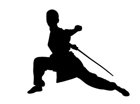 martial art Silhouette,Isolated on white background