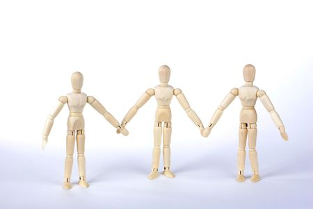 Many Wood people join hands,Represents the unity of photo
