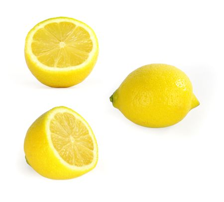 half cut: Three Lemon??On a white background at Stock Photo