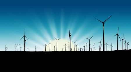 Wind farm silhouette at sunset photo