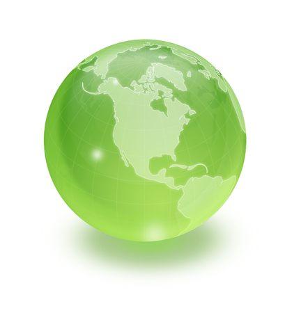 protect globe: Shiny green globe