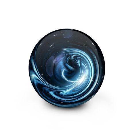 平らな青い白熱 Crystal ball-The 手と宇宙