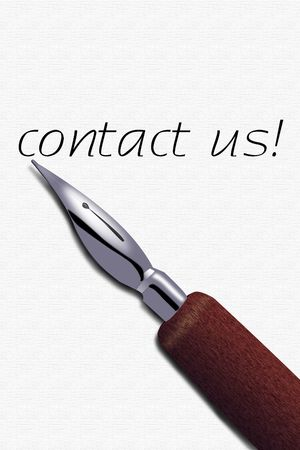 Contact us card and a fountain pen  Stock Photo - 5961291