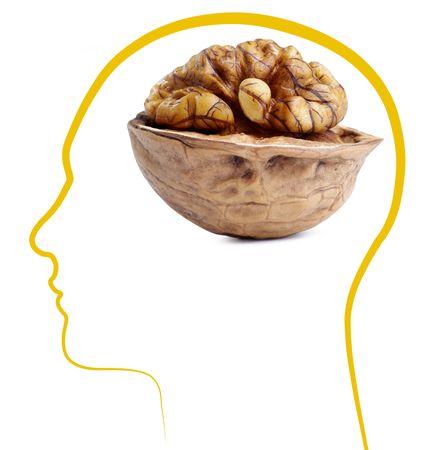 Walnut good brain health ��Isolated on white background Stock Photo