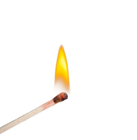 matches: Burning match on a White background