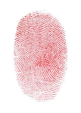 Fingerprint isolata rossa su sfondo bianco