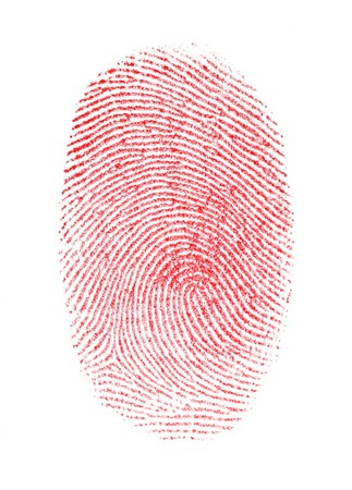 impressions: Red Fingerprint Isolated on white background