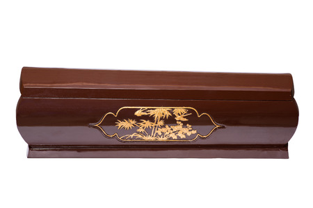varnished: coffin isolated on white background Stock Photo
