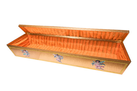 an open coffin, isolated on a white background