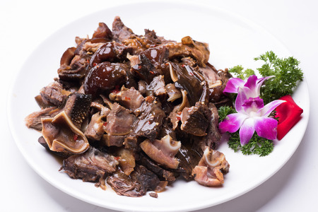 jus: Gourmet lamb isolated on white background