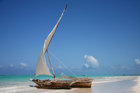 Sailing boat in a lagoon at ocean Stock Photo